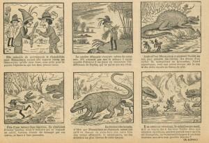 Le savant Diplodocus au milieu d'un combat de sauriens (août 1912)...