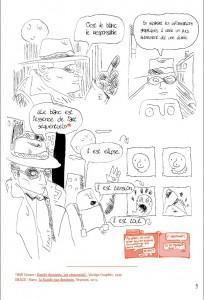 """Extrait du mémoire de Martin Guillaumie """"La révolution aura-t-elle lieu"""" (2014). Comment rendre compte visuellement d'une citation ? Will Eisner devient le Spirit, mais la norme citationnelle de bas de page est respectée."""