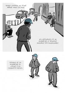 Pierre Nocerino, Carnets de terrain - gare du nord : ici la bande dessinée sert à rendre compte de données corporelles et comportementales, voire scénographiques, difficilement traduisibles en mots.